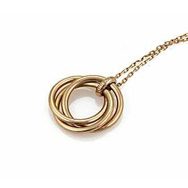 Cartier Trinity Diamond 18k Rose Gold Triple Ring Pendant & Chain Necklace