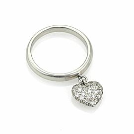 Tiffany & Co. Diamond Platinum Heart Drop Charm Band Ring
