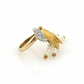 Carrera y Carrera Diamonds & Pearls 18k Yellow Gold Hand Ring Size 5