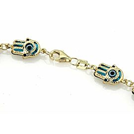 Good Luck Hamsa Hand Turquoise Enamel Multi Link 14k Yellow Gold Bracelet