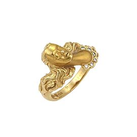 Carrera y Carrera Diamond 18k Yellow Gold Woman Head Ring Size 7