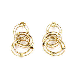 Tiffany & Co. Atlas Triple Graduated Hoop 18k Gold Dangle Earrings