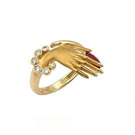 Carrera y Carrera Diamond & Ruby 18k Yellow Gold Hand Ring Size 5.5