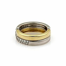 Cartier Diamond Platinum & 18k Yellow Gold Puzzle Band Ring Size 53 US 6.5