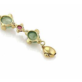 Green & Pink Tourmaline Oval Link Bracelet in 18k Yellow Gold