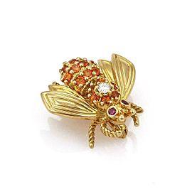 Tiffany & Co. Diamond Orange Sapphire & Ruby 18k Gold Bee Brooch Pin -1960's