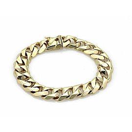 "Cuban Chain Link 14k Yellow Gold Bracelet 8.5"" Long"