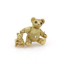 Tiffany & Co. Vintage Diamond Sapphire 18k Gold Mother & Baby Bear Brooch