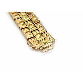 Retro 18k Two Tone Gold 3 Rows Square Link Fancy 22.5mm Wide Bracelet