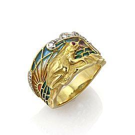 Masriera Diamond Ruby Enamel Sunset Set Frog 18k Gold Band Ring w/Cert