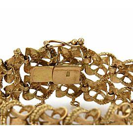 Vintage 18k Yellow Gold 22mm Wide Fancy Textured Double Row Bracelet