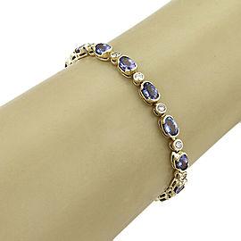 Semi Bezel Set Tanzanite & Diamond 14k Yellow Gold Bracelet