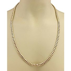 "Men's 14k Yellow Gold 7.5mm Wide Curb Link Chain Necklace 25"" - 97gr"
