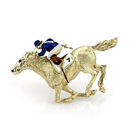 Enamel Jocky & Race Horse Large 18k Yellow Gold Brooch Pin