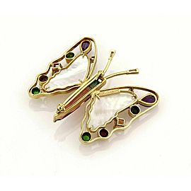 Mariano Diamond Multicolor Gems MOP 18k Yellow Gold Large Butterfly Brooch