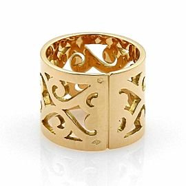 Hermes 18k Yellow Gold Open Swirl Pattern 15mm Wide Band Ring Size 52 US 6.25