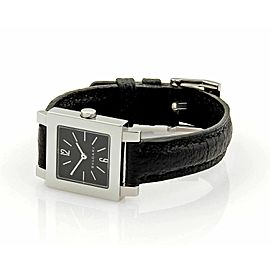 Bvlgari Quadrato Stainless & Black Leather Quartz Ladies Watch SQ22SL