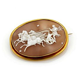 Estate 22k Gold Ben Hur Chariot Carved Shell Cameo Large Brooch -RARE!!