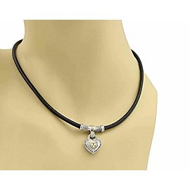 Judith Ripka Diamond Sterling 18k Yellow Gold Heart Pendant Cord Necklace