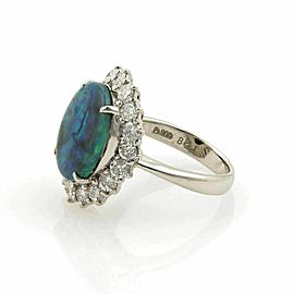 Estate 4.36ct Diamonds & Green Opal Platinum Cocktail Ring - Size 5