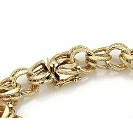 Vintage 14k Yellow Gold 12mm Textured Double Round Chain Link Bracelet