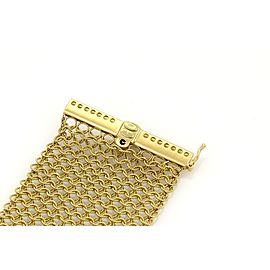 Judith Ripka Diamonds 18k Yellow Gold 40mm Wide Mesh Flex Bracelet