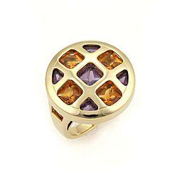 Cartier Pasha Citrine & Amethyst 18k Gold Round Ring Size 5.5