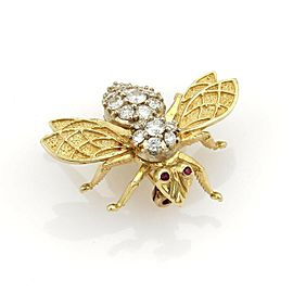 Estate 1.00ct Diamonds & Rubies Bee Brooch Pin in 18k Yellow Gold