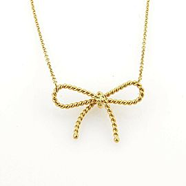 Tiffany & Co. Twisted Cable Wire 18k Yellow Gold Bow Pendant Necklace