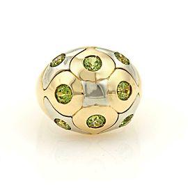 Bulgari Peridot 18k Two Tone Gold Dome Ring Size 7.5