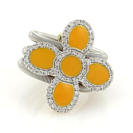Roberto Coin Diamonds & Enamel 18k Two Tone Gold Floral 3 Flex Band Ring