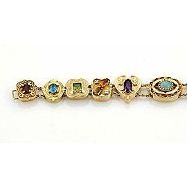 Estate 14k Yellow Gold Multi-Color Gems 12 Slide Charm Bracelet