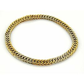 Estate Mario Buccellati Braided 18k Two Tone Gold Curb Link Necklace -131gr