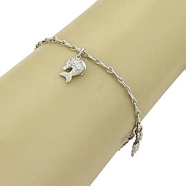 Platinum & Diamond Estate 3D Triple Charm Double Chain Link Bracelet