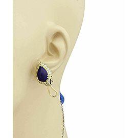 Estate 14k Yellow Gold Diamonds & Pear Shape Lapis Stud Earrings