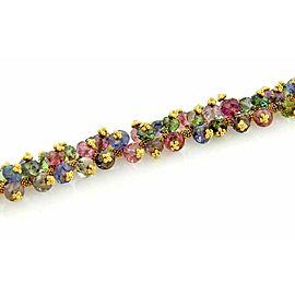 Laura Gibson 22k Multi Color Beaded Gemstone Cluster Bracelet