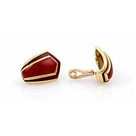 Leo De Vroomen Guilloche Red Enamel Clip On 18k Yellow Gold Earrings