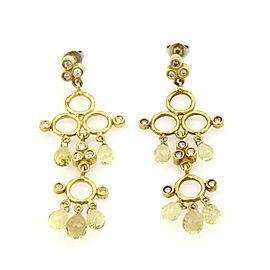 Siedengang 18k Yellow Gold Diamond & Peridot Chandelier Earrings