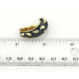 David Webb Diamonds & Enamel 18k Yelllow Gold Curved Clip On Earrings