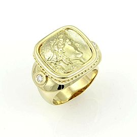 Estate 18k Yellow Gold & Diamond Carved Athena Ring Signed GB