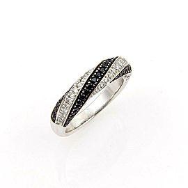 Roberto Coin Fantasia 18k Gold Black Sapphires & Diamond Ring Size 7