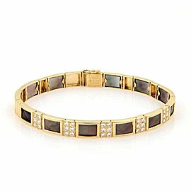 Estate Van Cleef & Arpels Diamond & Mother of Pearl 18k Yellow Gold Bracelet