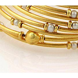 Estate 18k Yellow Gold & Pearls Multi Wrap Stretch Bangle Bracelet