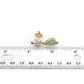 Estate Australian Opal & Rose Cut Diamonds 14k Yellow Gold Drop Earrings