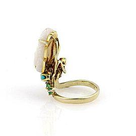 Fire Opal Buddha Head Ruby & Sapphire 14k Yellow Gold Ring