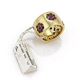 Koesia 1.90ct Amethyst Gems 14mm Wide 18k Yellow Gold Band