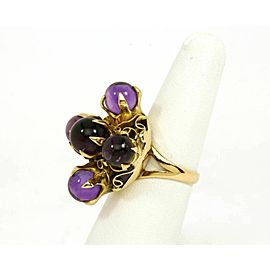 Vintage Cabochon Amethyst Cocktail Ring in 14k Yellow Gold- Size 7.75