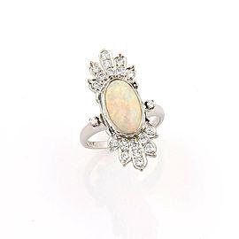 Diamond & Fire Opal 14k White Gold Ring