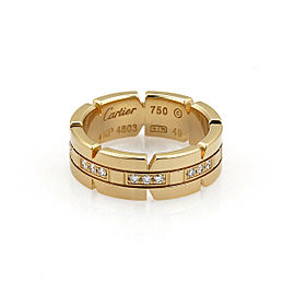 Cartier Tank Francaise Diamond 18k Yellow Gold Band Ring Size 49 US 5 w/Paper