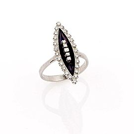 ART DECO 18K WHITE GOLD MARQUISE CUT BLACK ONYX & DIAMOND RING